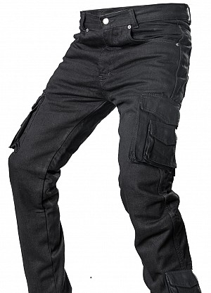 DENIM SIDEPOCKET RANGER KEVLAR JETBLACK MC BYXA SP-01