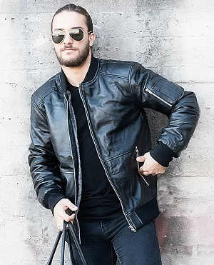 LEGEND BOMBER LEATHER BLACK WINTER SKINNJACKA