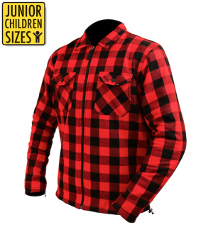 JUNIOR / KID KEVLAR FLANELL ZIPPER ORIGINAL RED LEVEL 2 PROTECTOR CE PROTECTORS MC SKJORTA