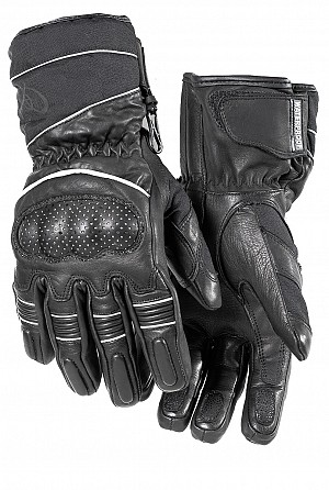 BLACK Vector Waterproof Leather mc handskar