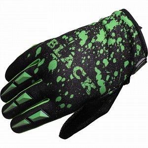 Black Splat Motocross Gloves Green 0706 crosshandskar